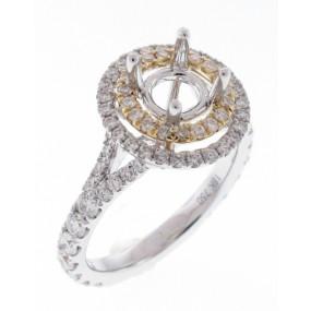18kt White And Yellw Gold Diamond Halo Semi Mount
