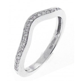 18kt White Gold Curved Diamond Band