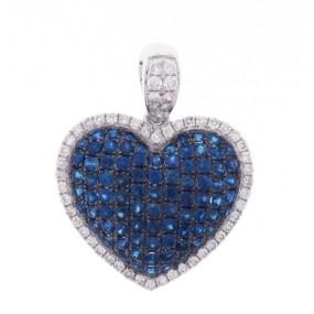 18kt White Gold Sapphire and Diamond Pendant