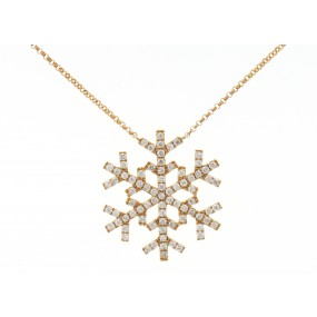 18kt Yellow Gold Diamond Snowflake Pendant