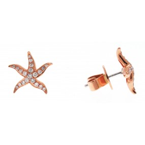 18kt Rose Gold Diamond Star Fish Earrings