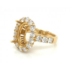 18kt Yellow Gold Diamond Halo Semi Mount