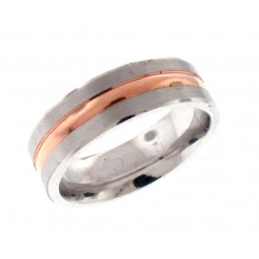 14kt White And Rose Gold Men's Wedding Band