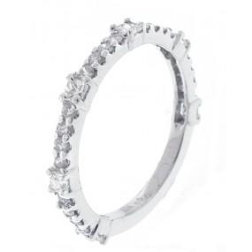 14kt White Gold Diamond Half Way Band