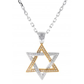 18kt Rose and White Gold Diamond Jewish Star Pendant
