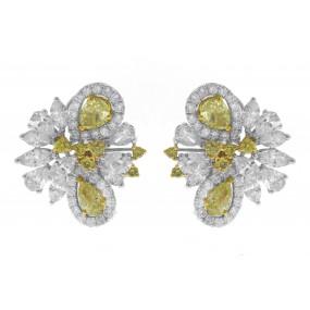 18kt White Gold Yellow Diamond Cluster Earrings