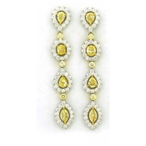 18kt White Gold Yellow Diamond Dangling Earrings