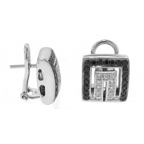 18kt White Gold Black and White Diamond Earrings