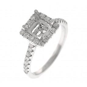 18kt White Gold Diamond Halo Semi Mount