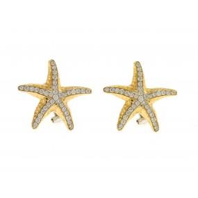 18kt Yellow Gold Diamond Starfish Earrings