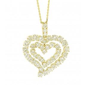 18kt Yellow Gold Diamond Heart Pendant
