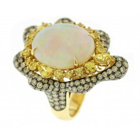 18kt Yellow Gold Multi Color Diamond Turtle Ring