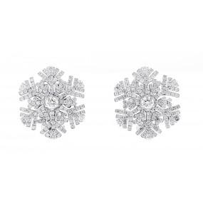 18kt White Gold Diamond Snowflake Earrings