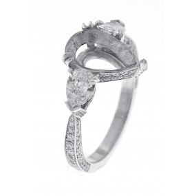 Platinum White Gold Diamond Semi Mount