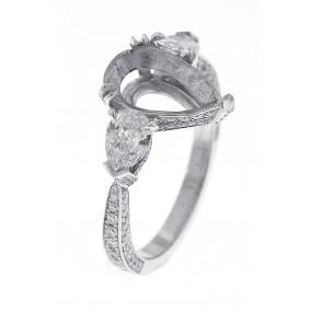 Platinum White Gold Diamond Semi Mount