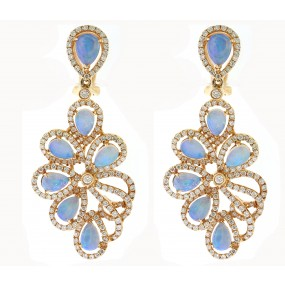 18kt Rose Gold Diamond And Opal Dangling Earrings
