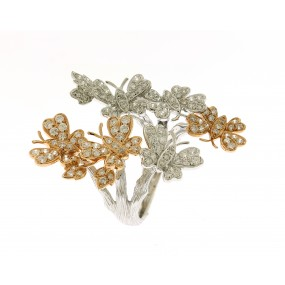 18kt White And Rose Gold Butterfly Ring
