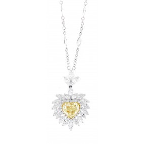 18kt White Gold GIA Certified Yellow Diamond Pendant