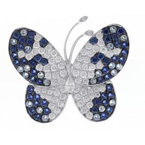 18kt White Gold Diamond And Sapphire Pendant/Pin
