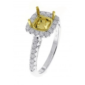 18kt White And Yellow Gold Diamond Halo Semi Mount