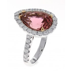 18kt White Gold Diamond and Pink Tourmaline Ring