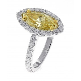 18kt White Gold GIA Certified Fancy Light Yellow Diamond Ring
