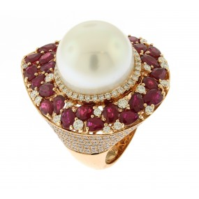 18kt Rose Gold Ruby And Pearl Ring