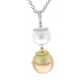 18kt White And Yellow Gold Diamond And Pearl Pendant