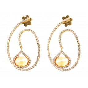 18kt Yellow Gold Diamond and Citrine Dangling Earrings