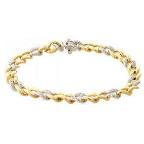 18kt White And Yellow Gold Diamond Link Bracelet