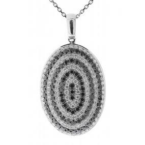 14kt White Gold Black And White Diamond Pendant