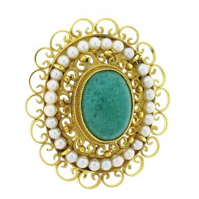 18kt Yellow Gold Emerald And Pearl Pin/Pendant