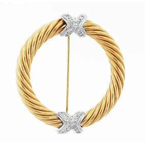 14kt White And Yellow Gold Diamond Pin/Pendant