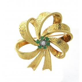 14kt Yellow Gold Diamond And Emerald Pendant/Pin