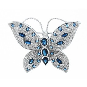 14kt White Gold Diamond And Sapphire Butterfly Pin/Pendant