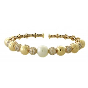 18kt Yellow Gold Diamond and Pearl Bangle