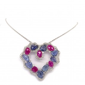 18kt White Gold Diamond, Sapphire And Ruby Heart Pendant