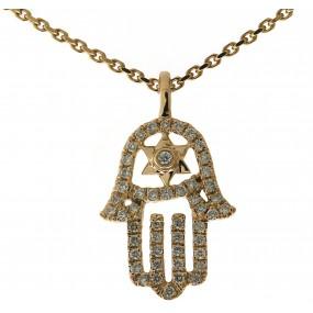 14kt Yellow Gold Diamond Hamsa Pendant