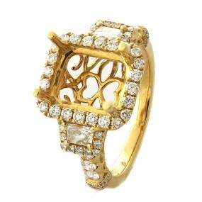 18kt Yellow Gold Diamond Halo Semi Mount