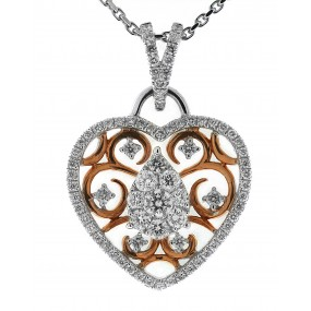 18kt White And Rose Gold Diamond Heart Pendant