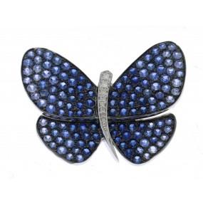 18kt White Gold Diamond And Sapphire Pin/Pendant