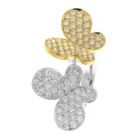 18kt White and Yellow Gold diamond Butterfly Ring