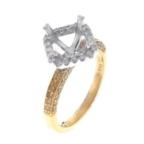 18kt Two Tone Yellow And White Diamond Halo Semi Mount