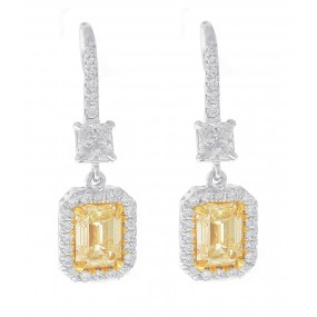 Platinum Diamond Dangling Earrings