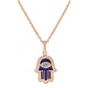 14kt Rose Gold Diamond Hamsa Pendant