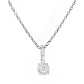 18kt White Gold Diamond Cluster Pendant