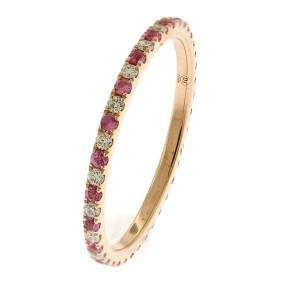 18kt Rose Gold Diamond And Sapphire Eternity Band.
