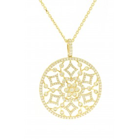 18kt Yellow Gold Diamond Disc Pendant