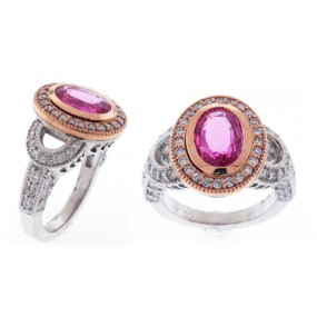 14kt White And Rose Gold Pink Sapphire Ring