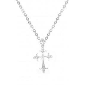 18kt White Gold Diamond Cross Pendant